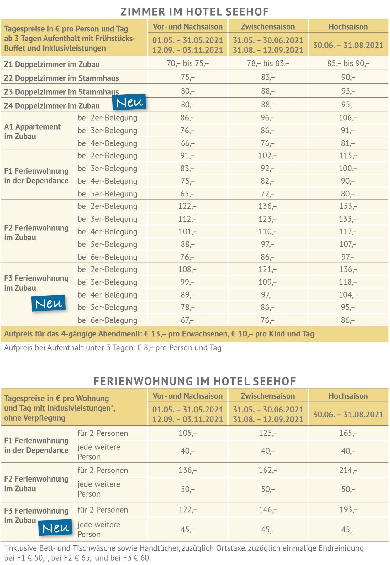 Tagespreise 2021 Hotel Seehof am Längsee